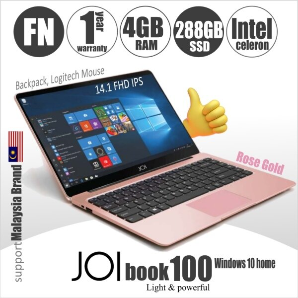 JOI Book 100 + FREE 100GB Hosting  + logitech mouse + backpack (Intel Celeron N3450 Dual Core 4GB RAM  32GB+256GB eMMC  14.1 FHD IPS) Malaysia