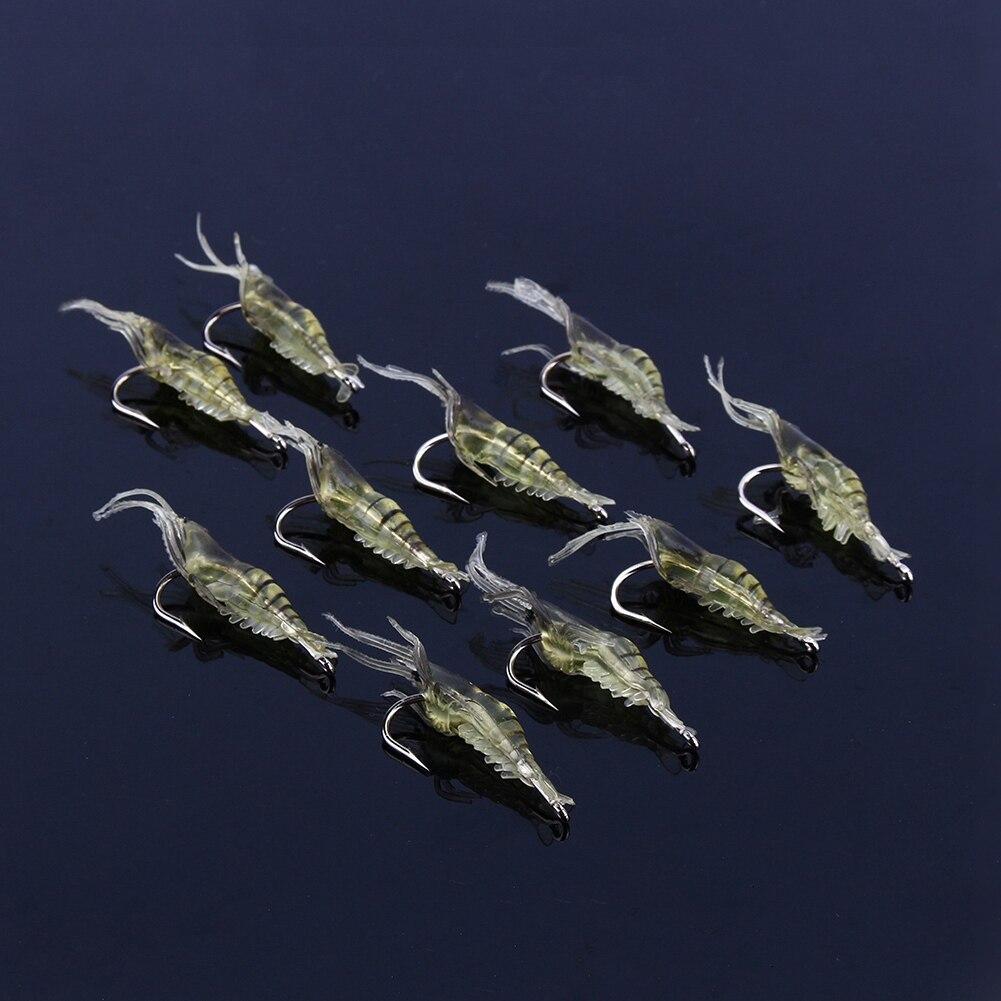 【cod】10 ชิ้นกุ้งจำลองกุ้งนุ่มล่อเหยื่อเบ็ดรอกเบสเหยื่อตกปลา.