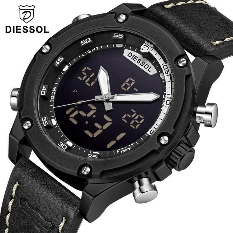DIESSOL Mens Fashion Watches Top Brand Luxury Analog Digital Leather Sports Watches Business Military Waterproof Quartz Watch Malaysia