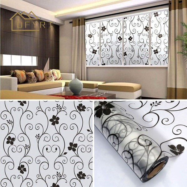 DFYRT Sweet Frosted Privacy Cover Glass Window Door Black Flower Sticker Film Adhesive Home Decor