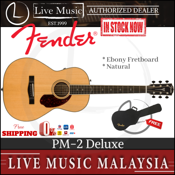 Fender PM-2 Deluxe Parlor Acoustic Guitar with Case - Natural (PM2/PM 2) Malaysia