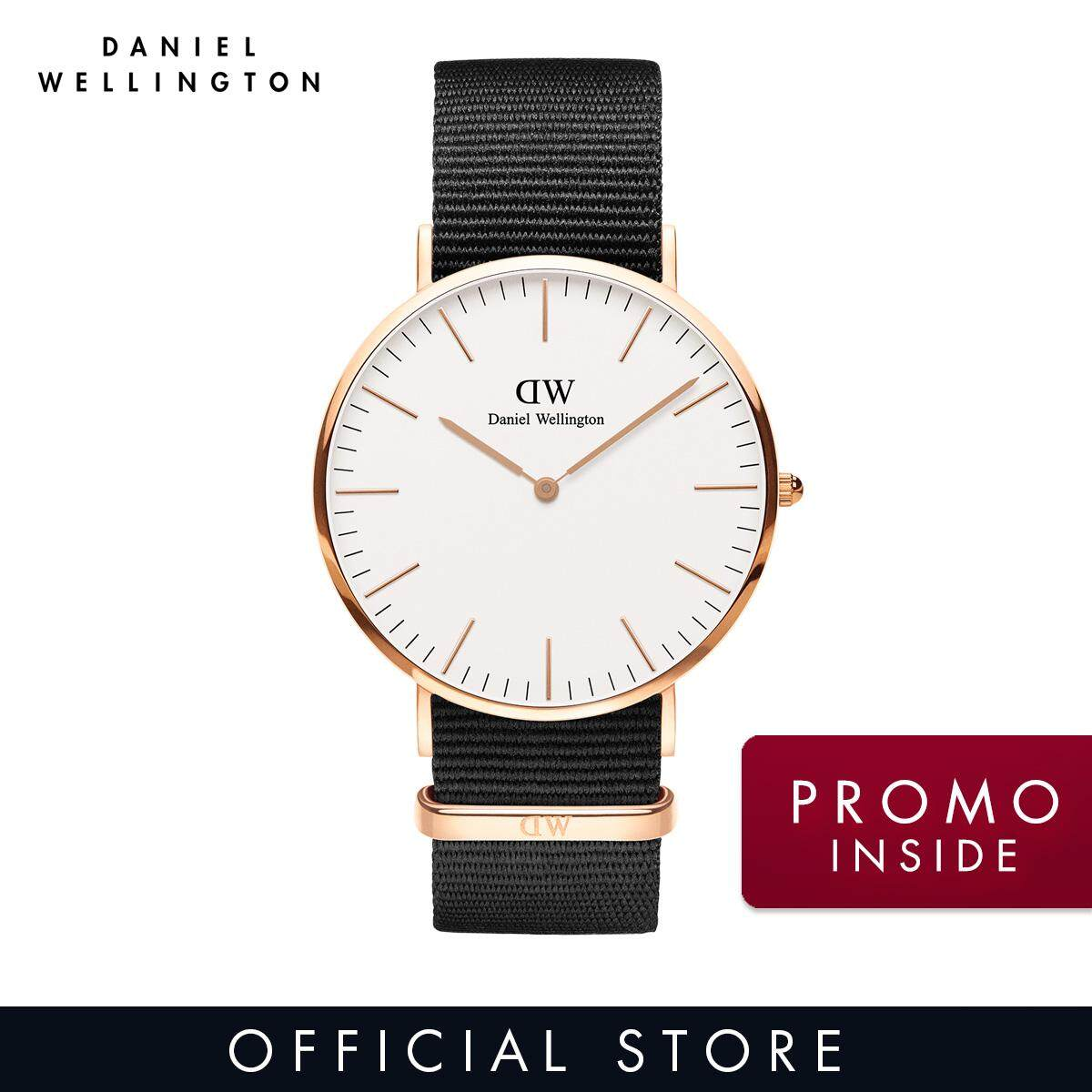 Daniel Wellington Classic Cornwall 40mm White Dial on Rose Gold with Black NATO Strap - DW