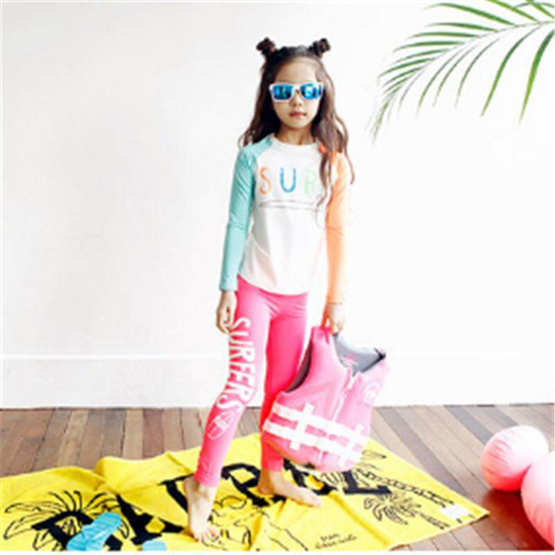 ae5f5bca0f Luoke Sunscreen Two-piece Swimming Suit for Children Quick-drying Cartoon  Long-sleeved