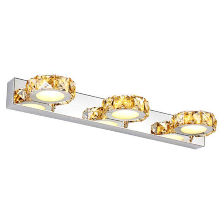 QUKAU Modern LED Mirror lamp 46CM 9W Headlight Bathroom 3 heads Crystal Bathroom Lamps wall lamp mirror lighting
