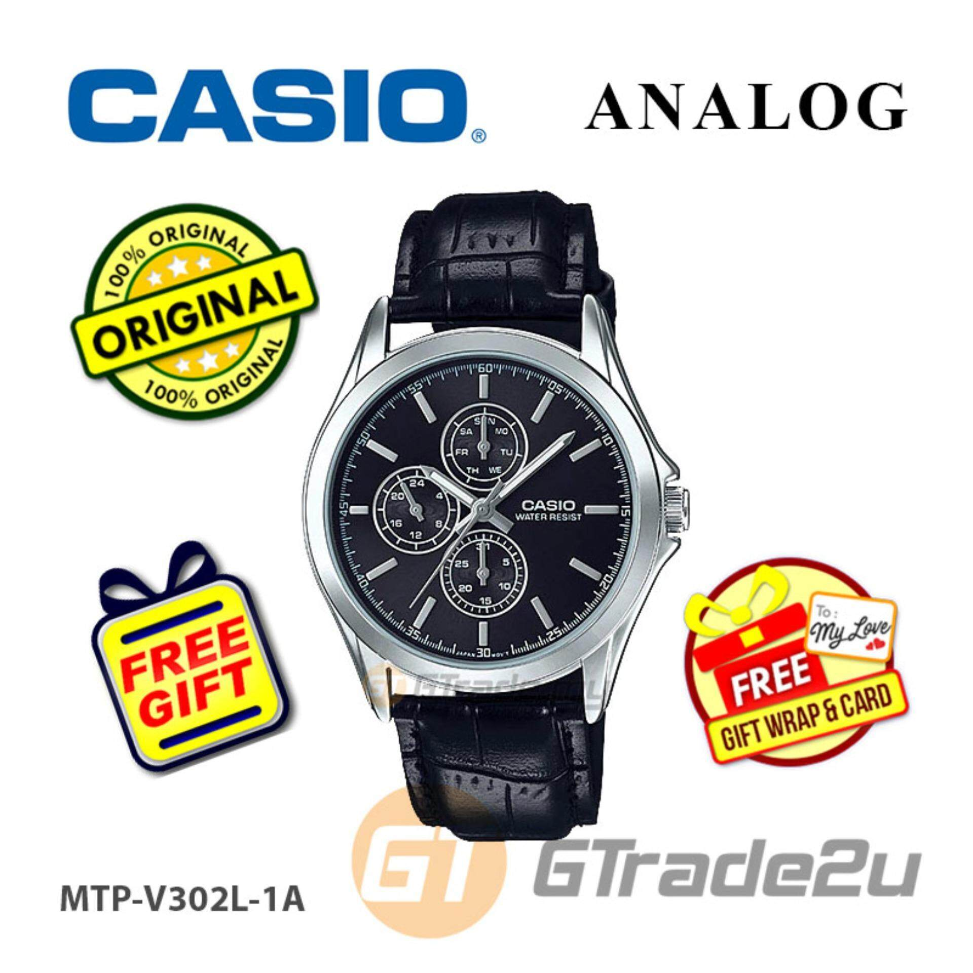 CASIO Men MTP-V302L-1A Multi-Hand Analog Watch  Date, day and 24-hour Indicator Malaysia