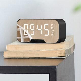Đồng Hồ Báo Thức Có Đèn LED Tráng Gương Máy Nghe Nhạc Bluetooth 5.0 Không Dây Đa Năng Đồng Hồ Để Bàn Điện Tử Kỹ Thuật Số Với Chế Độ Báo Thức Kép thumbnail