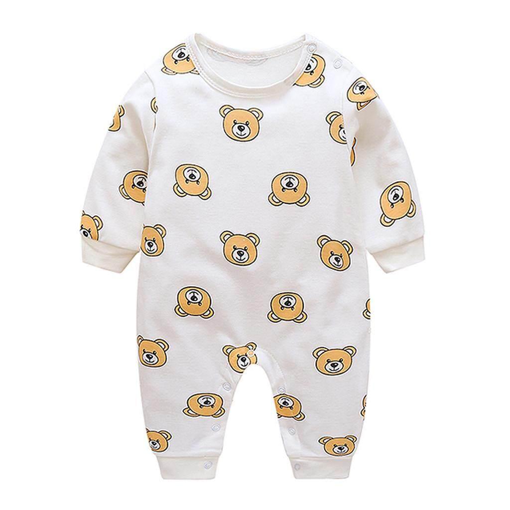 Rayeshop ทารกแรกคลอด Boy สาวพิมพ์การ์ตูนหมี Romper Jumpsuit ชุดเสื้อผ้า