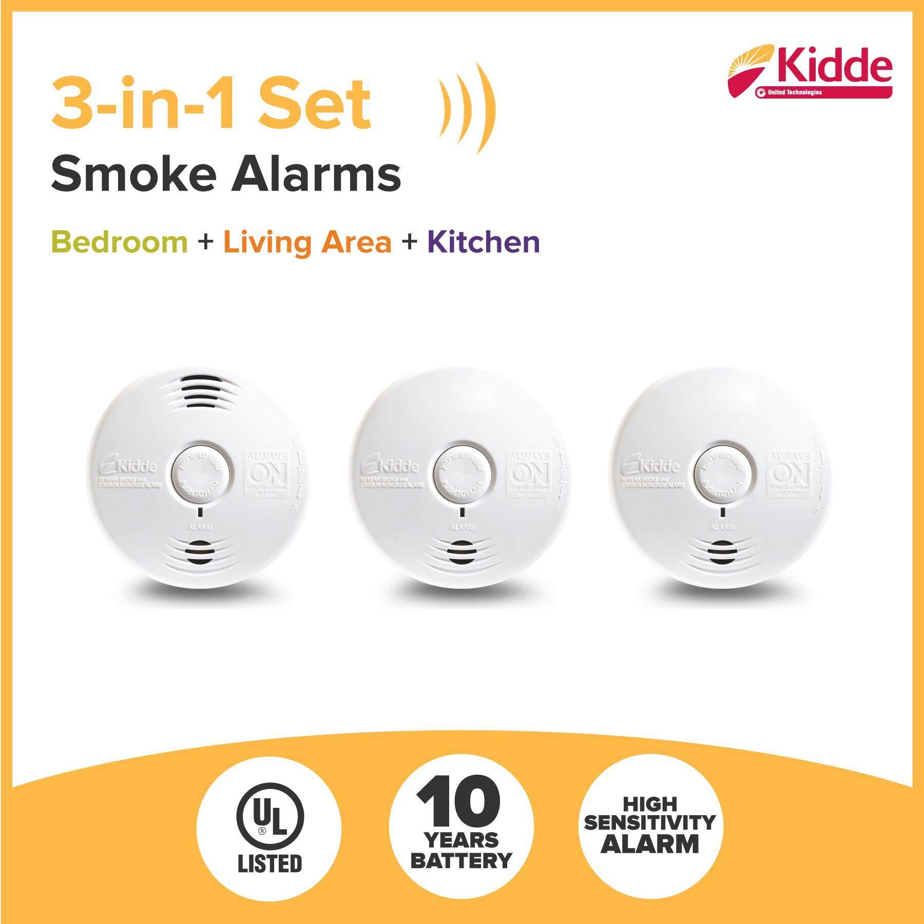 KIDDE Smoke Alarm Detector 3-in-1 set (Smoke Alarm + Fire! Fire ! Voice Smoke Alarm + Smoke & CO)  [3-in-1], 10 Years Battery, UL listed