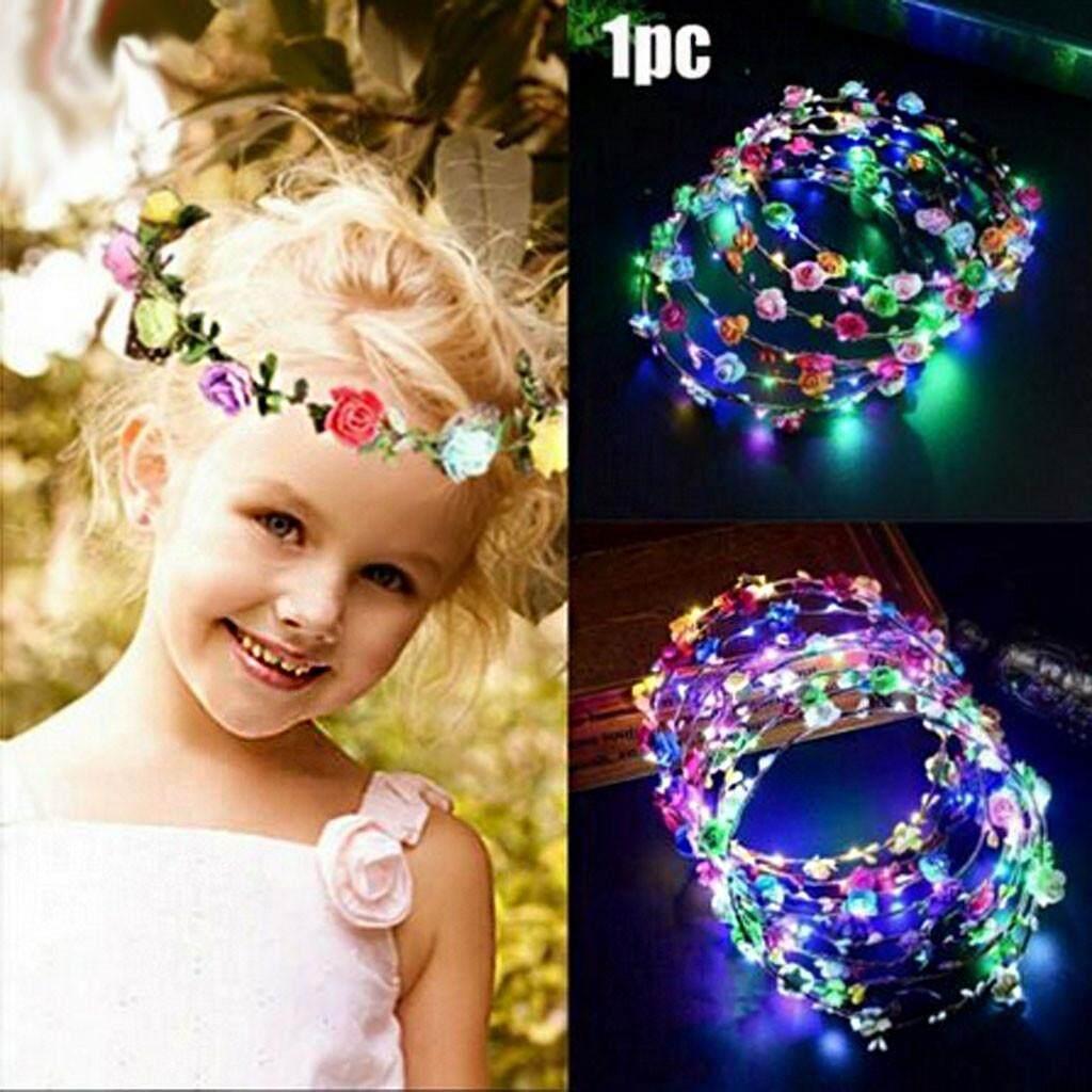 Flower Headband LED Light Up Hair Wreath Garlands for Wedding Newest Fashion