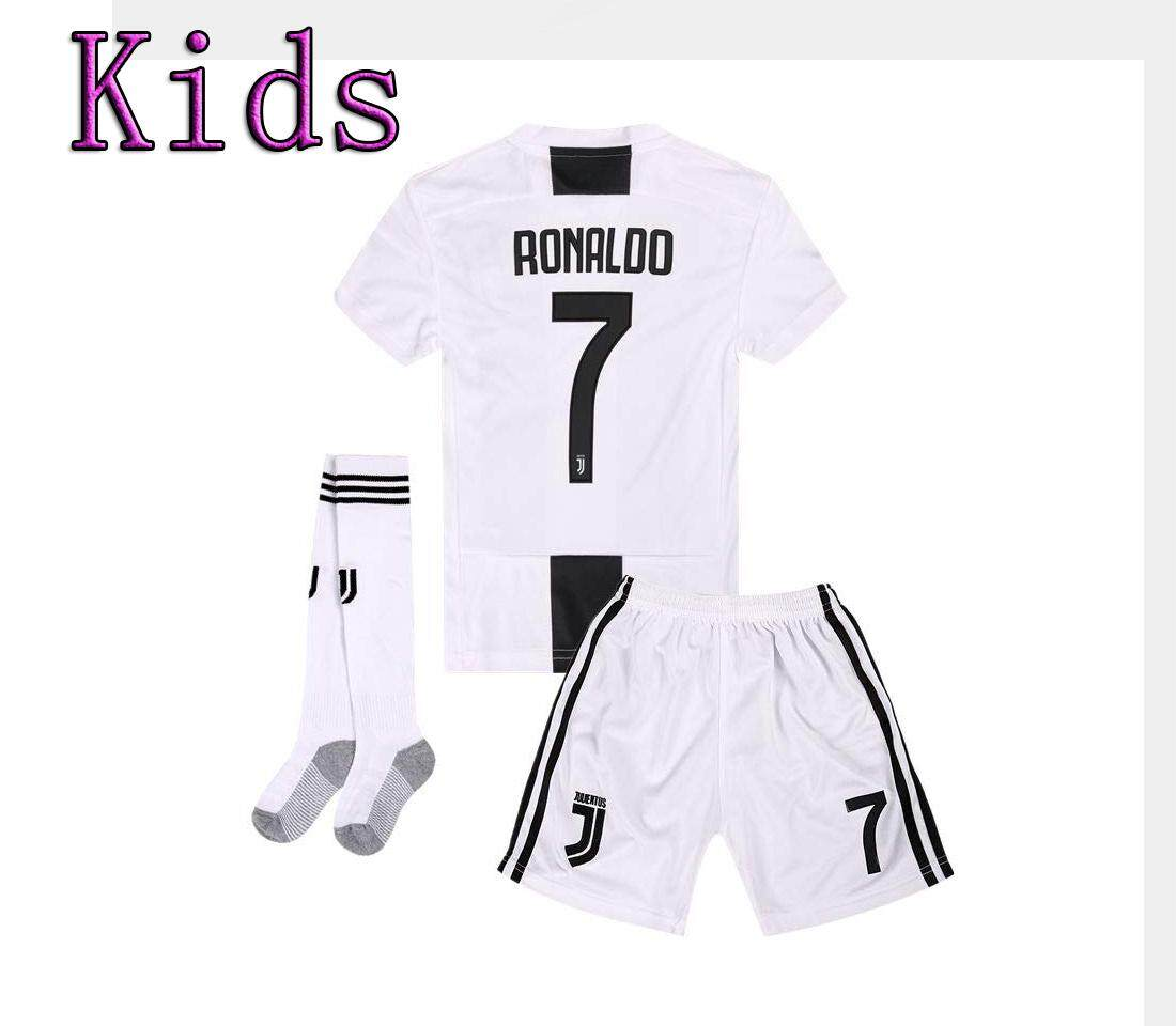 finest selection a509d ca00a Free Socks (3-13years) Ronaldo 7 Kids Juventus CR7 Home Football Jersey