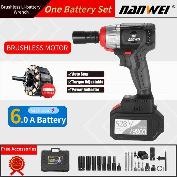 NANWEI Cordless Impact Wrench 980Nm Torque Brushless Motor 1/2 and 1/4 Inch Quick Chuck 6.0A B-attery with Fast Charger Variable Speed Multifunction Impact Kit with Key Type Drill Chuck and 17 Accessories[Buy from West Asia for delivery]