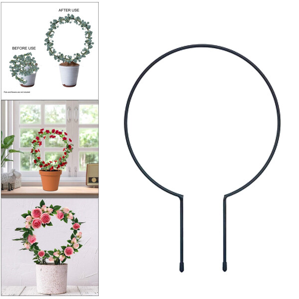 Fityle Black Metal Plant Trellis for Climbing Plants Iron Circle Trellis Plant Vine Stem Support Wire Rack with Plant Twist Tie for Potted Plants Flowers