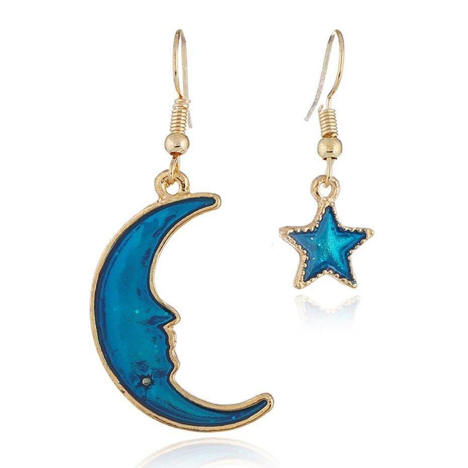 Penawaran Khusus untuk Hadiah Anting-Anting untuk Wanita Minyak Menetes Bulan Bintang Asimetris Anting-
