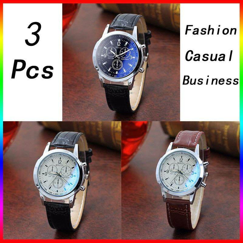 [Buy 1 Free 2]TZP Store 3 Pcs Hot Sale Luxury Brand Fashion Men Quartz Wristwatch Life Waterproof Leather Strap Mens Casual Quartz Wrist Watches Clock -International Malaysia