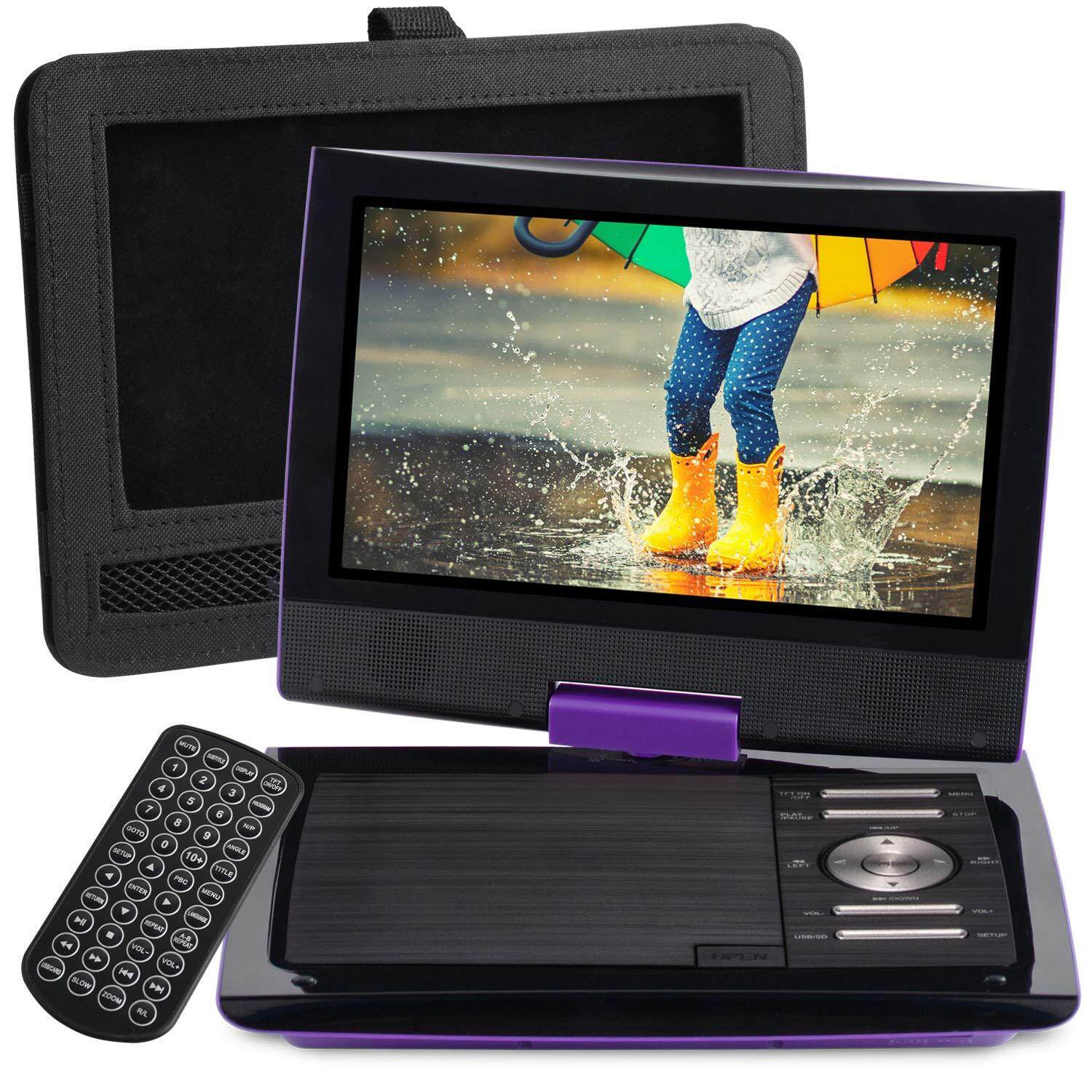 "SUNPIN 11"" Portable DVD Player with 9.5 inch HD Swivel Screen, Dual Earphone Jack, Supports SD Card/USB/CD/DVD and Multiple Disc Formats, Headrest Mount Holder, Car Charger, Power Adaptor (Purple)"