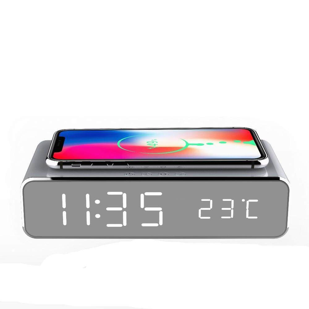 Electric LED alarm clock with phone wireless charger Desktop digital thermometer clock HD mirror clock with Time memory Hot sale