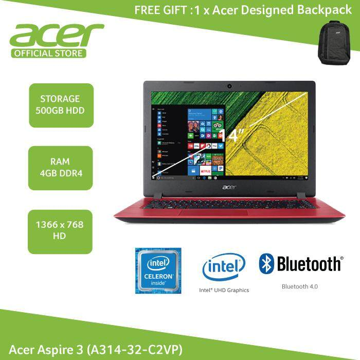 Acer Aspire 3 (A314-32-C2VP) 14 / Cel N4000 / 4GB / 500GB / W10 (Red) + FREE Backpack Malaysia
