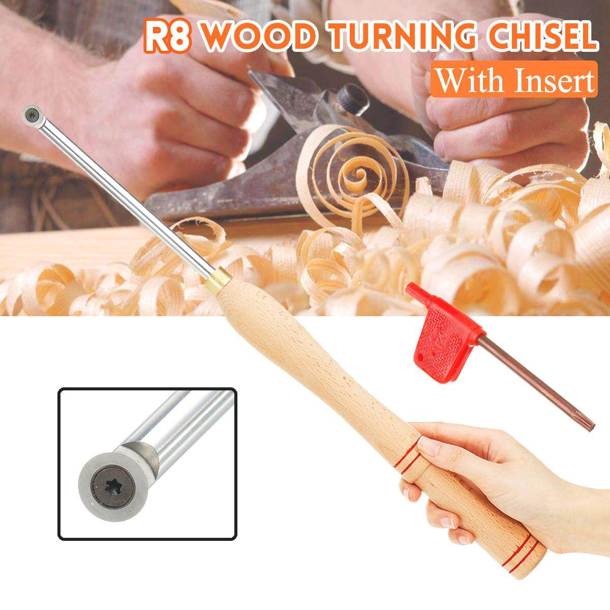 【Free Shipping + Super Deal + Limited Offer】R8 Wood Turning Chisel Tool with Carbide Insert Wooden Handle Hand-held + Wrench