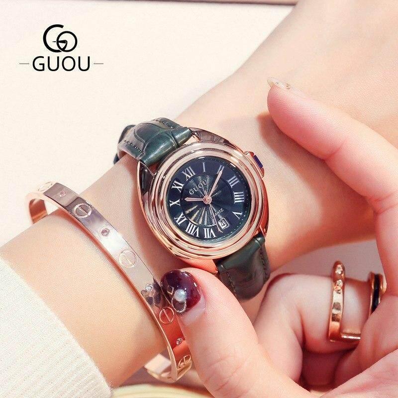 Guou แฟชั่นคลาสสิก Retro ผู้หญิงนาฬิกาข้อมือโรมันทองคำสีกุหลาบปฏิทินของแท้หนัง Vintage สุภาพสตรีนาฬิกา By Su Tong.