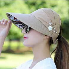 Mũ Mùa Hè Cho Nữ Có Thể Gập Lại Mũ Che Nắng Hoa Ngọc Trai Visor Mũ Mềm Nữ Ngoài Trời Mũ Đi Biển