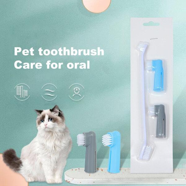 Cái/bộ 3 Cái Bàn Chải Đánh Răng Cho Thú Cưng, Thiết Kế Ngón Tay Hai Đầu Bằng Miệng Làm Sạch Bàn Chải Đánh Răng Cho Chó Mèo Chó Con Mèo Con