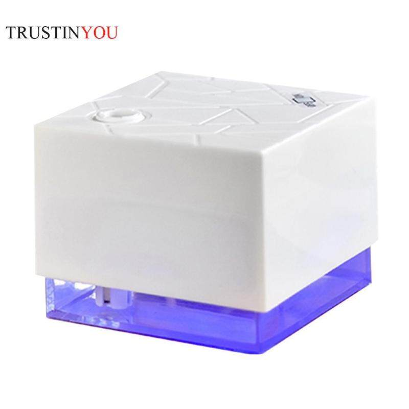 300ml Water Cube Shape Ultrasonic Humidifier LED Blue Light Night Lamp Aroma Essential Oil Diffuser Mini Aromatherapy Air Purifier Mist Maker for Office Home Singapore