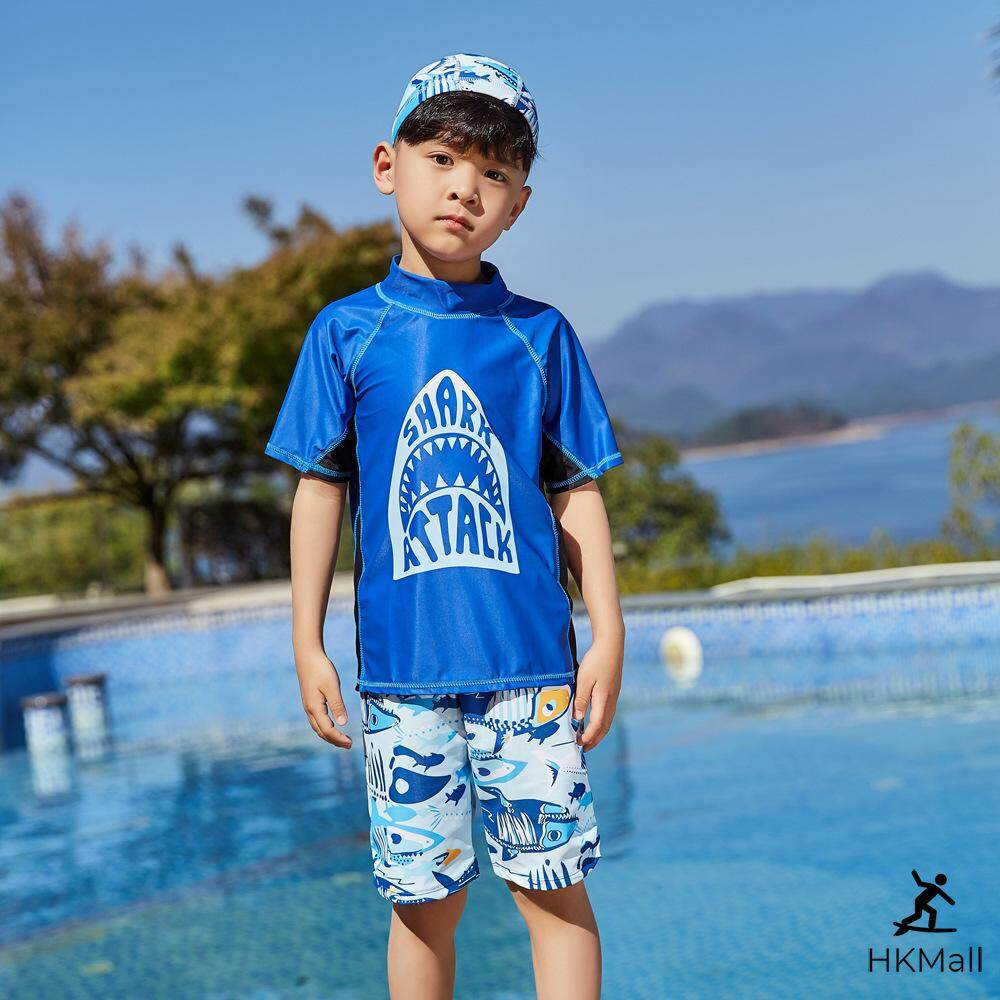 6643d592bf ... adf3415fd992a HK Mall Boys Swimwear Short Sleeve Tops Bottom Set  Children Swimsuit Clothing Sets Swimming Shirts+ ...
