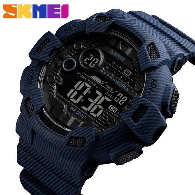 SKMEI New Luxury Mens Sports Digital Watches Fashion Deinm Style Students Wirstwatches Camo Military Waterproof Electronic Watch Malaysia