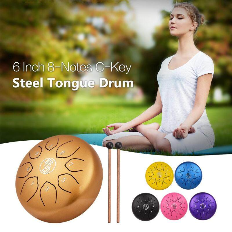 6 Inch Steel Tongue Drum Handpan Drum 8-Notes C-Key Percussion Instrument with Mallets Drum Bag Wiping Cloth for Musical Education Concert Mind Healing Yoga Meditation Blue