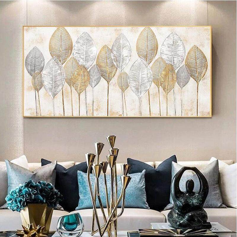 100% Hand Painted Oil Painting Leaves Oil Painting Fashion Office Home Wall Decoration No Frame