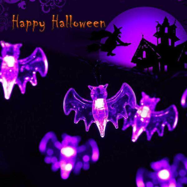 Đèn Dây Hình Dơi Màu Tím LED Trang Trí Halloween Dễ Thương