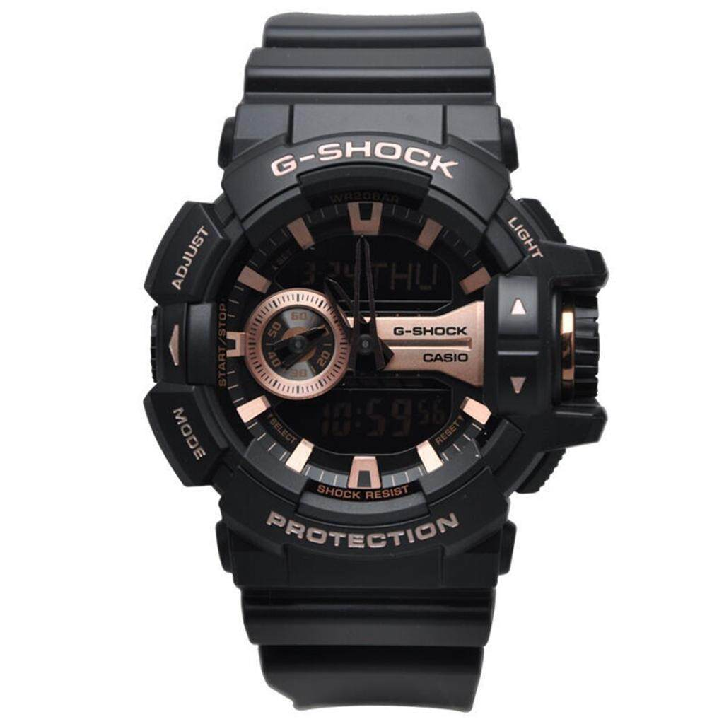 ยี่ห้อไหนดี  กำแพงเพชร 【 STOCK】Original _ Casio_G-Shock GA400 Duo W/เวลา 200M กันน้ำกันกระแทกและกันน้ำโลกนาฬิกากีฬาไฟแอลอีดีอัตโนมัติ Wist นาฬิกากีฬาสำหรับ MenGA-400GB-1A4 Rose