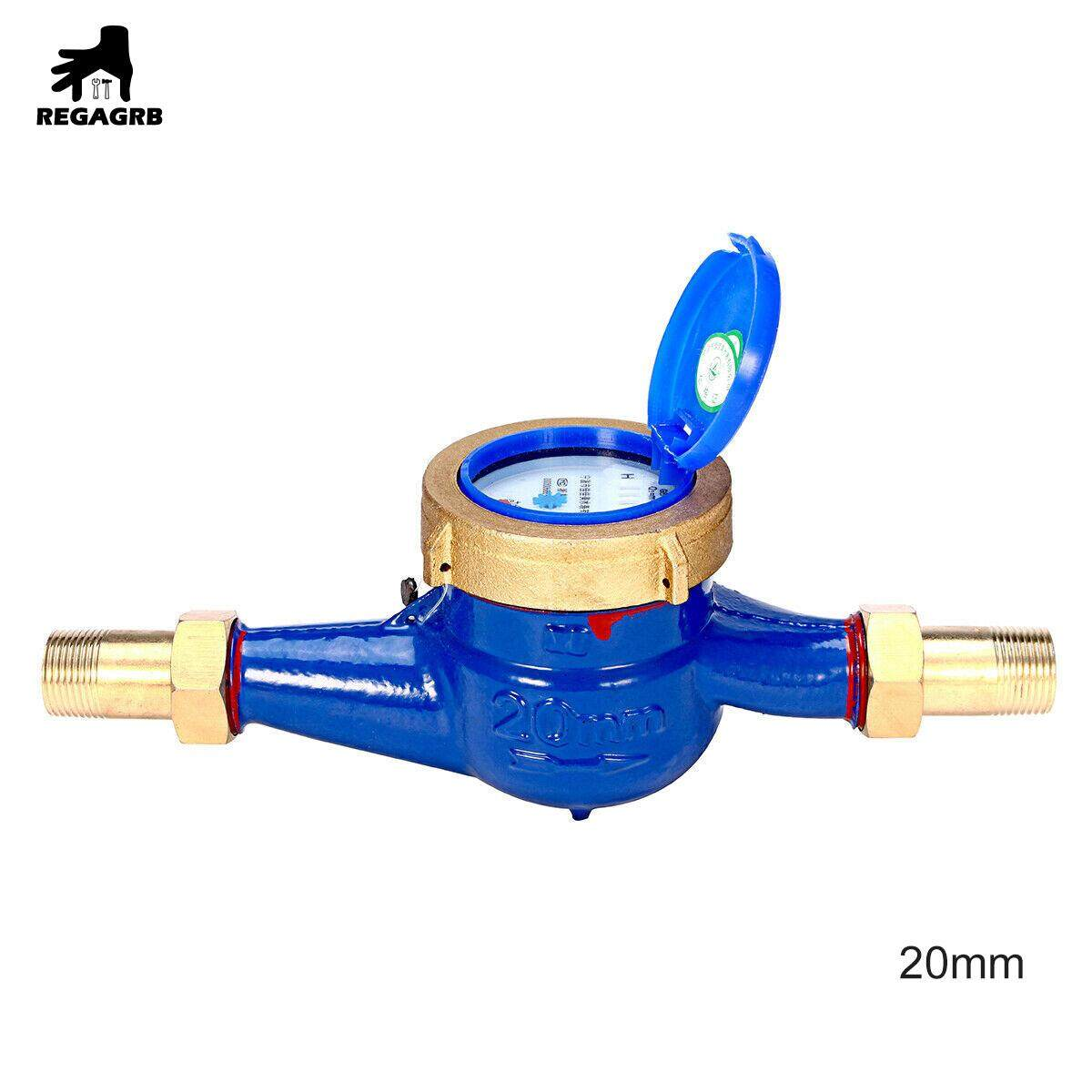 15mm/20mm Garden Home Brass Flow Measure Tape Cold Water Meter Counter Tools