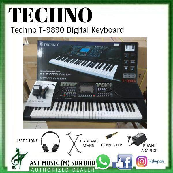 Techno T-9890 Generation 2 Electronic Keyboard Digital Keyboard with adaptor, stand and headphone (T9890i / T9890) Malaysia