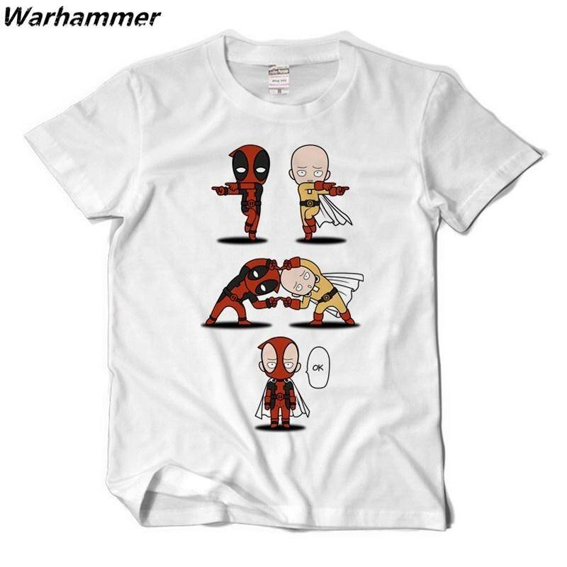a21aff7783f Summer Anime Tee Shirt Homme One Punch Man Short Sleeve Cotton Printed  Pattern Dead Pool Funny