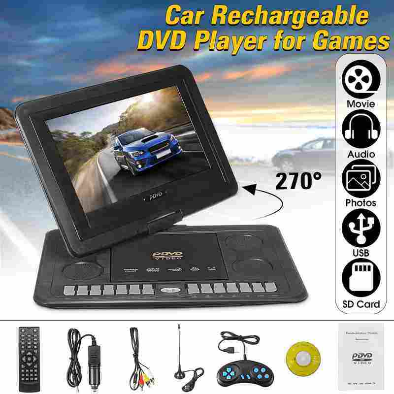 """AnyCare 13.3"""" Portable Recharge Car DVD Player Game Remote Control 270° Swivel Screen"""