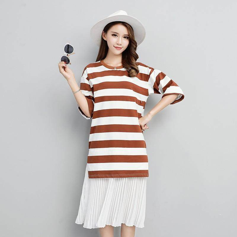 newStriped Cotton Maternity Nursing Dresses Clothes for Pregnant Women  Summer Casual Maternity BreastFeeding Dress Plus Size d36f026f6f74