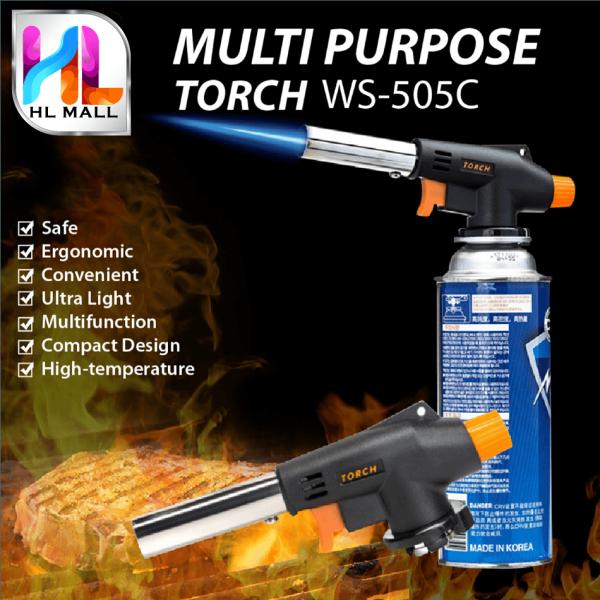 HL MALL Multipurpose Butane Camping Gas Multipurpose Torch Butane Burner Welding Fire Maker Flame Gun With Auto Ignition - WS-505C