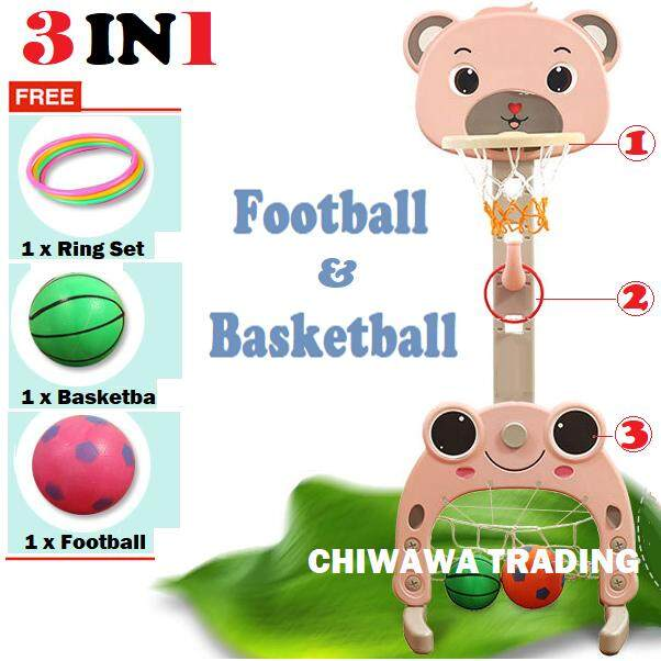 【free Gift: Play Toy Set; Football; Basketball】extra Biggest - 3 In 1 Kid Children Playground Basketball + Football With Net Playground For Indoor And Outdoor By Chiwawa Trading.