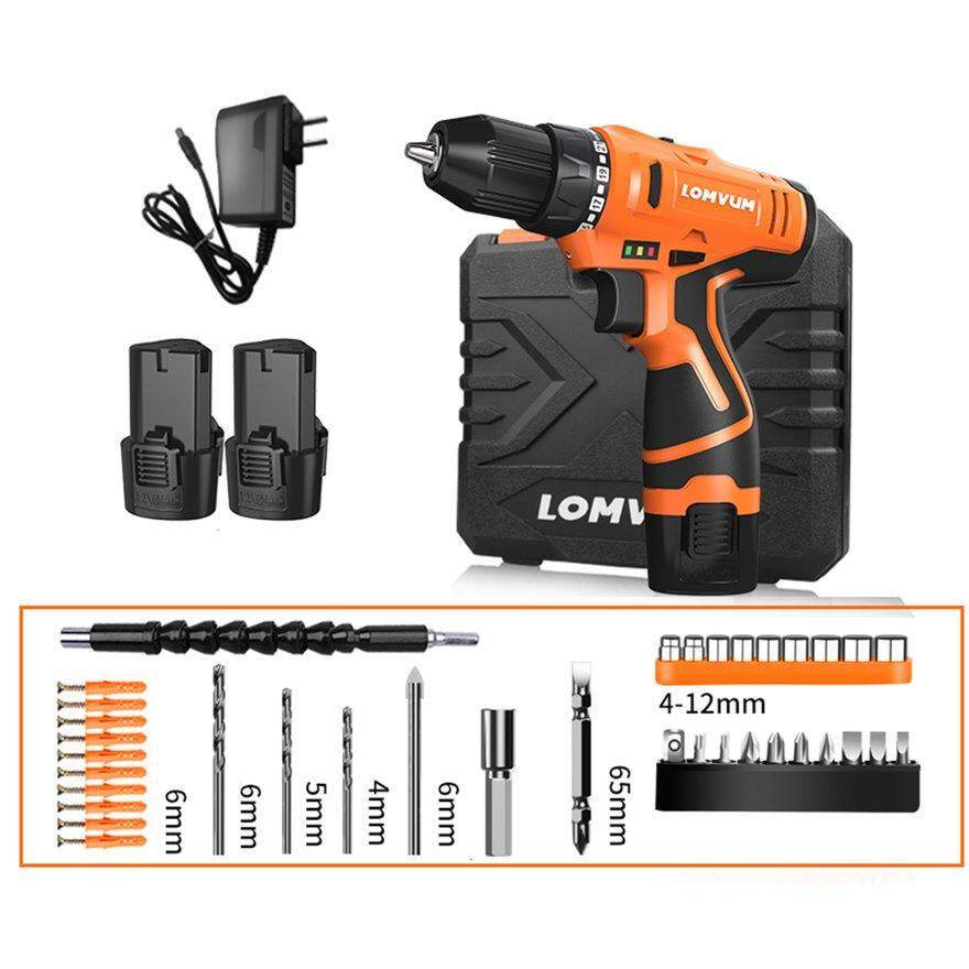 ANEXT LOMVUM 12V Double Speed Electric Drill Rechargeable Multifunction  Mini Cordless Handheld Screwdriver Drill
