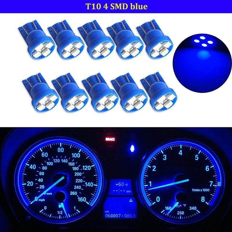 10 chiếc T10 W5W 194 2825 4SMD LED Wedge Bảng Đồng Hồ Đo Chùm Ánh Sáng Xanh Dương