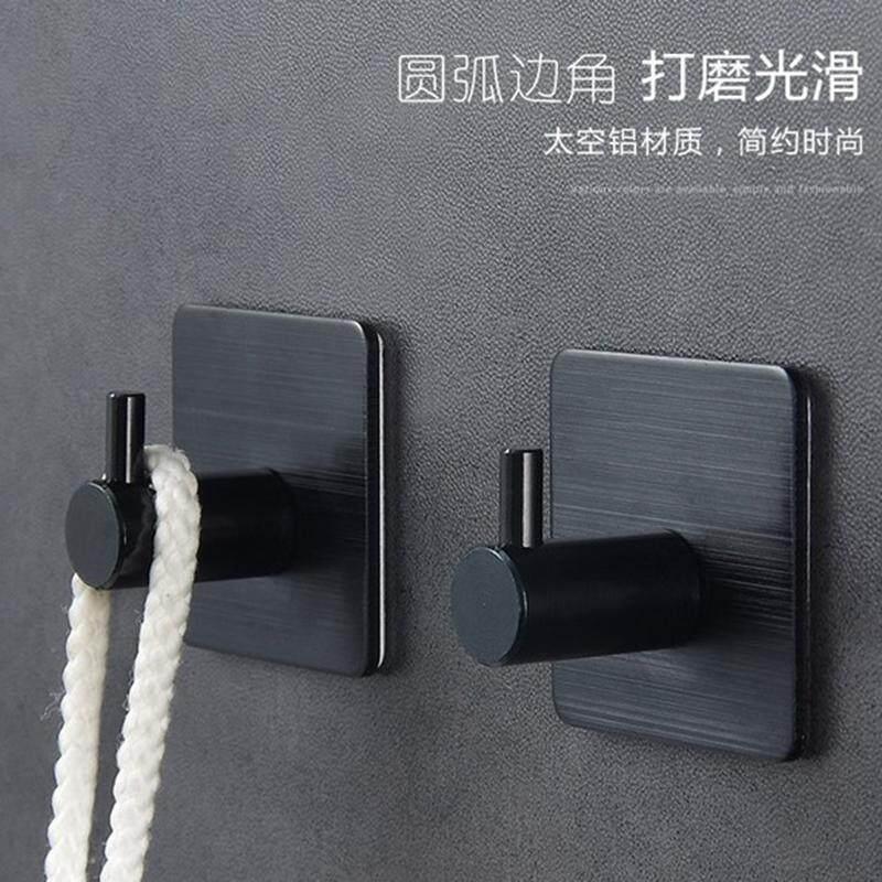 2Pcs Sticker Adhesive Hooks Wall Door Clothes Coat Hat Hanger Kitchen Bathroom Rustproof Towel Hooks