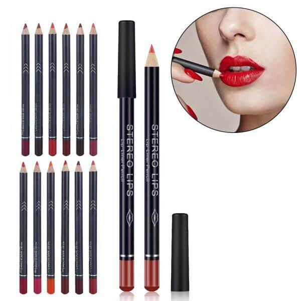 12 Bút Kẻ Mắt Màu Sắc/Bộ Mattee Không Thấm Nước Lip Liner Pencil Lipstick Pen Lâu Dài Mỹ Phẩm Công Cụ giá rẻ