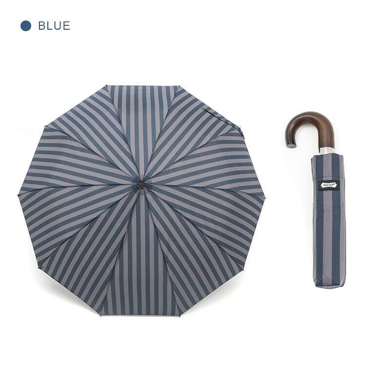 b8ff3586f765f Parachase Wood Automatic Umbrella Men Women 10 Ribs Windproof Wooden Handle  Umbrellas Rain Stripe Paraguas 3