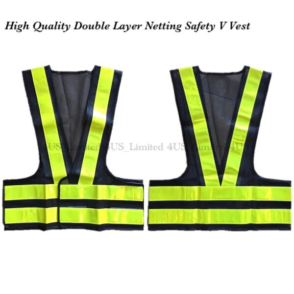 High Quality Double Layer Lime Green Reflector and Black Fabric Netting Safety V Vest