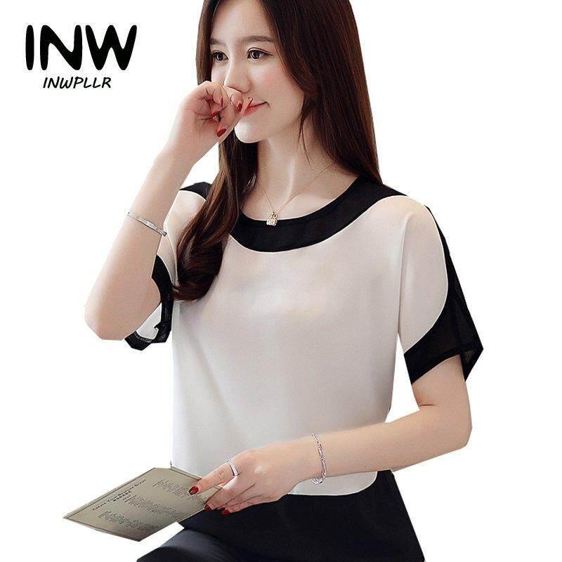 8e11a708e92 INWPLLR Women Chiffon Blouses Work Wear Office Tops Summer Patchwork Shirts  Women Casual Batwing Sleeve Plus