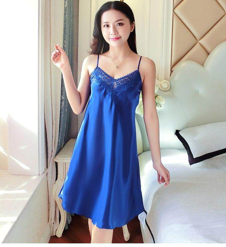 ed0a77040 Women Sexy Pajama Night Dress Satin Sleeveless Nighty V-neck Silk Lace Sleepwear  Nightwear