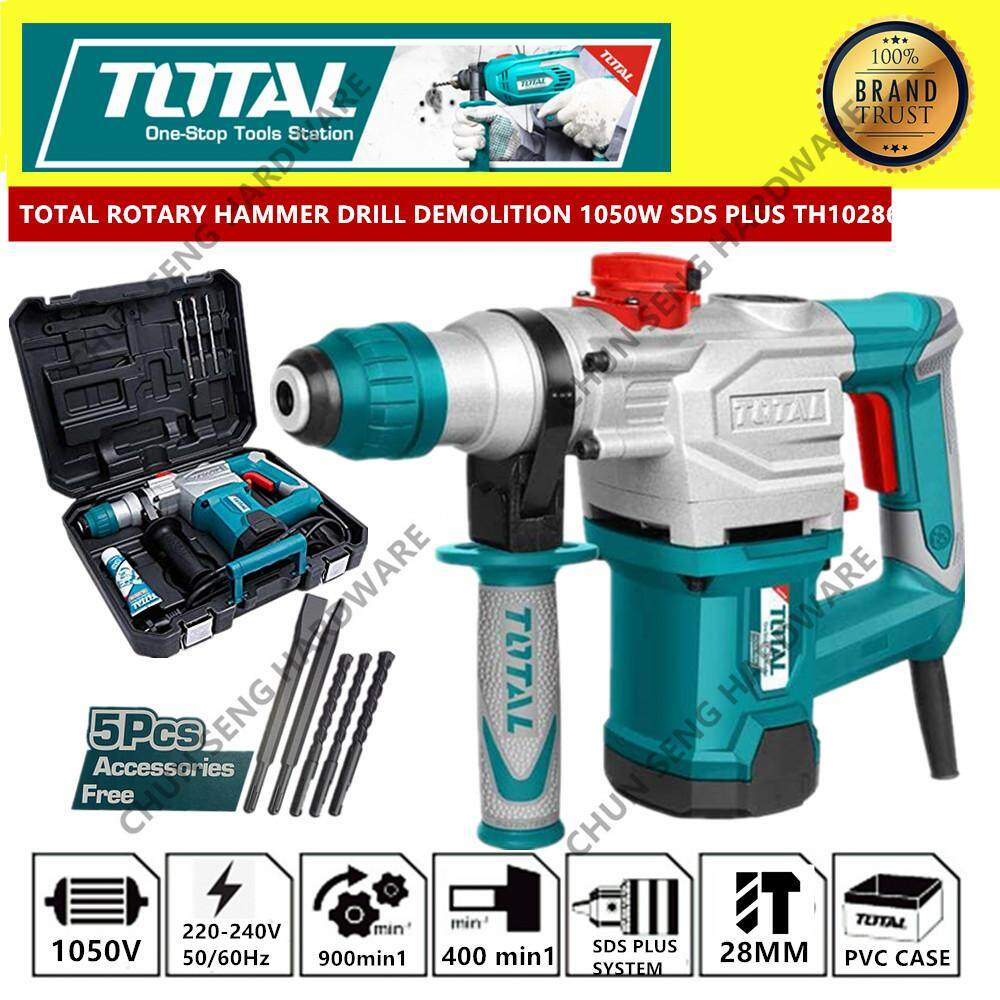 TOTAL ROTARY HAMMER DRILL DEMOLITION HAMMER 1050W 28MM 2 FUNCTION TH110286
