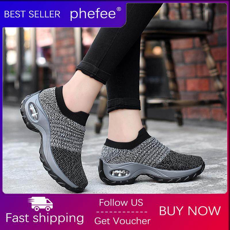 Phefee Women Causal Shoes Lady Outdoor Sport Shoes 2019 New Sneaker No Shoelaces Air Cushion Rocking Shoes