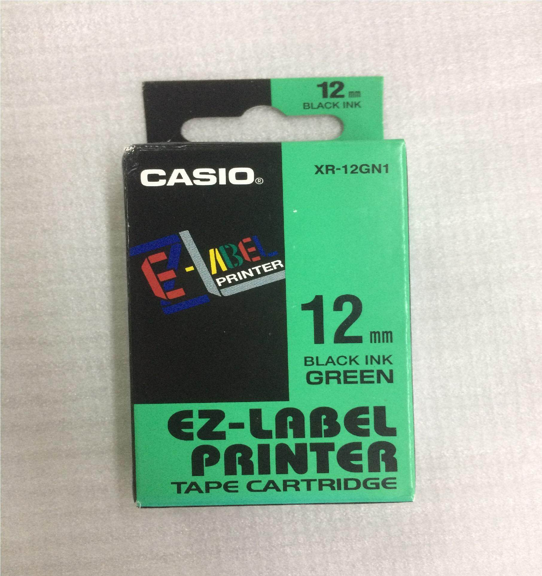 CASIO XR-12GN1 EZ-LABEL TAPE BLACK ON GREEN 12mm ORIGINAL